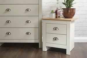 Lancaster 2 Drawer Bedside Cabinet in Cream With Oak Effect Tops
