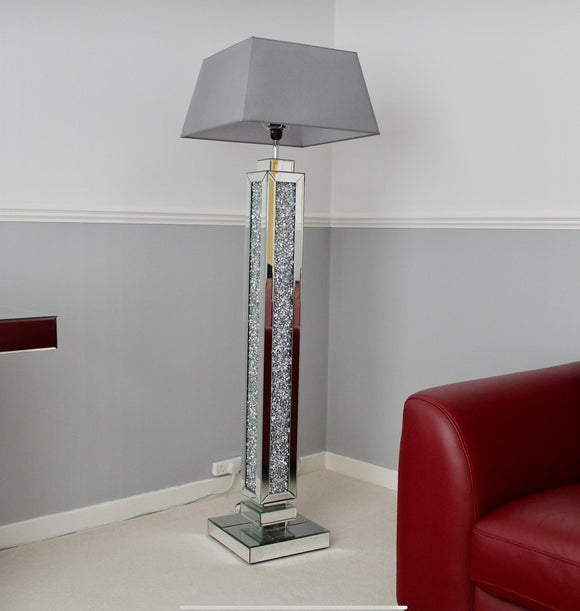 Crushed Diamond Mirrored Floor Lamp