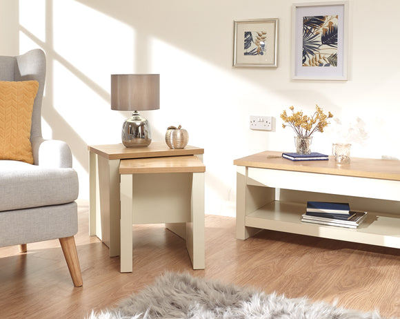 Lancaster Nest of 2 Tables in Cream With Oak Effect Top