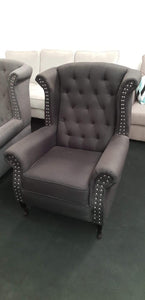 Queen Anne Chesterfield Style Wing High Back Chair - Various Colours
