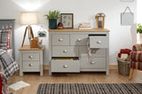 Lancaster 7 Drawer Merchants Chest in Grey With Oak Effect Tops