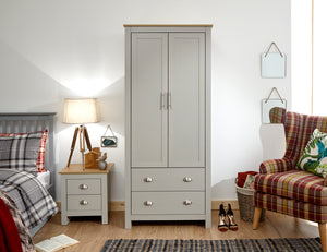 Lancaster 2 Door 2 Drawer Wardrobe In Grey With Oak effect Tops