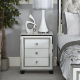 Annabelle White Mirrored Glass 3 Drawer Bedside Cabinet