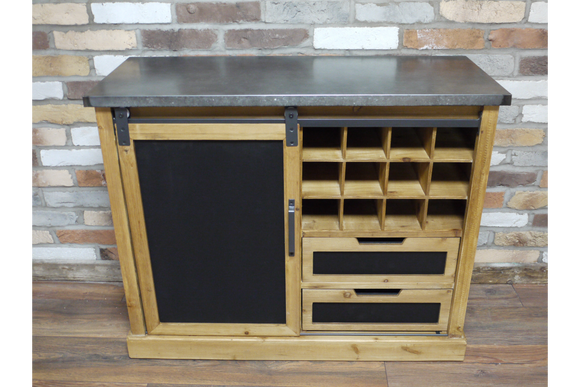 Industrial Vintage Retro Solid Wood Wine Cabinet With Drawers