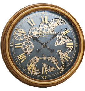 ROUND CIRCLE GOLD MOVING GEARS CLOCK WITH ROMAN NUMERALS