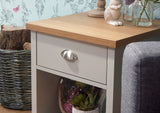 Lancaster Lamp Table in Grey With Oak Effect Top