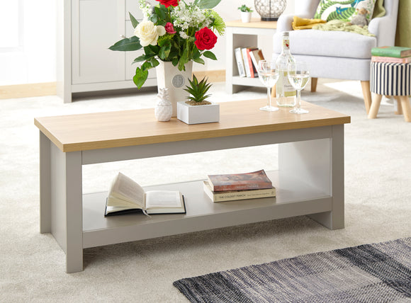 Lancaster Coffee Table With Shelf In Grey With Oak Effect Top