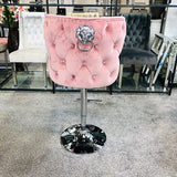 Valentino Plush Velvet Pink Barstool With Lion Knocker & Buttoned Back
