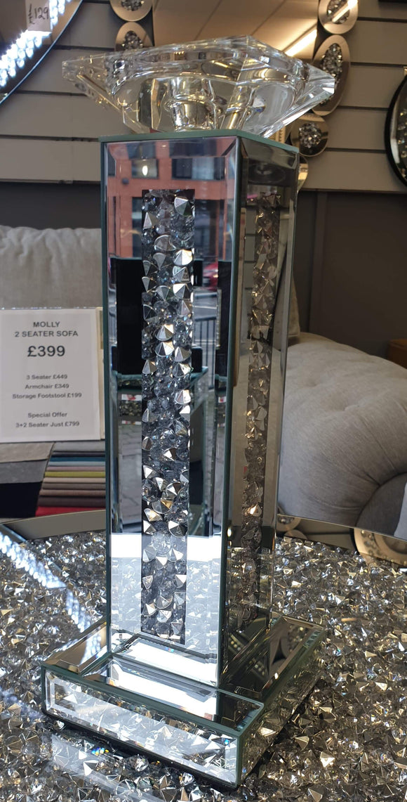 New Crushed Diamond Mirrored Candle Holder