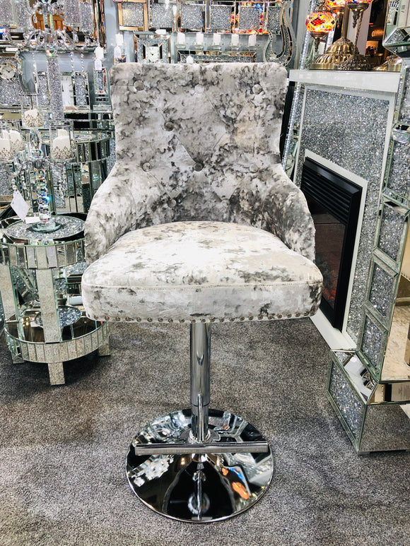 Majestic Double Crushed Velvet Bar Stool With Lion Knocker Back