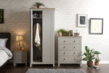 Lancaster 3 Piece Bedroom Set Including Wardrobe Drawers & Bedside In Grey With Oak Effect Top