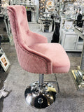 Majestic Pink French Plush Velvet Bar Stool With Lion Knocker Back