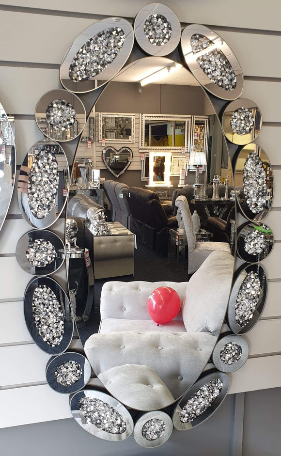Crushed Diamond Oval Mirror