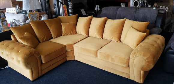 Molly L Shape Corner Sofa - Plush Velvet Left Side Mustard