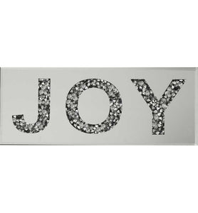 Gatsby Crushed Diamond Mirrored Word Deco JOY Wall Plaque 2019 Design