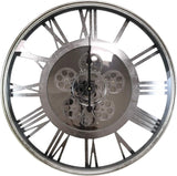 ROUND CIRCLE SILVER MOVING GEARS CLOCK WITH ROMAN NUMERALS