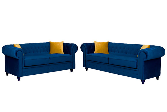 Hilton Marine Blue Chesterfield Sofa Plush Velvet - Various Sizes