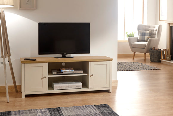 Lancaster Large Tv Unit In Cream With Oak Effect Top