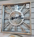 SQUARE SILVER MOVING GEARS CLOCK WITH ROMAN NUMERALS