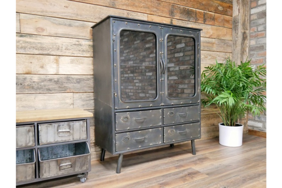 Industrial Vintage Retro Metal Cabinet With Doors And Drawers