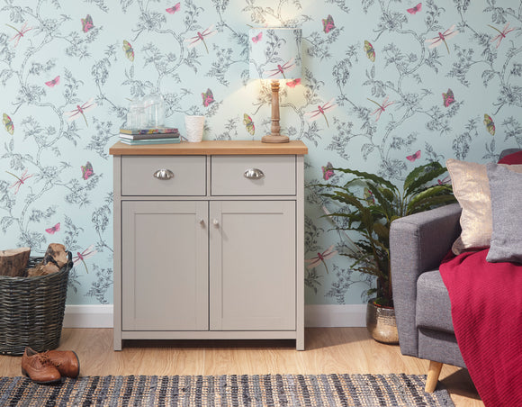 Lancaster 2 Door 2 Drawer Compact Sideboard in Grey With Oak Effect Top