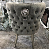 Valentino Premium French Grey Plush Velvet Dining Chair With Lion Knocker & Buttoned Back