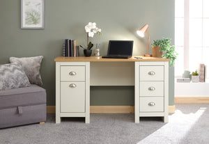 Lancaster Study Desk With Drawers in Cream With Oak Effect Top
