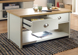 Lancaster 2 Drawer Coffee Table in Cream With Oak Effect Top