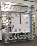 Floating Crystal Mirrored Square Clock
