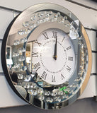 Floating Crystal Mirrored Round Circle Clock