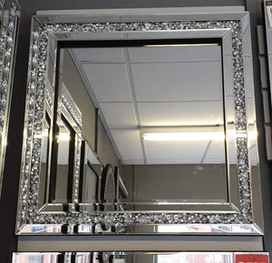 Crushed Diamond Square Wall Mirror