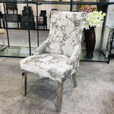 Venice Premium Crushed Velvet Lusso Dining Chair Lion Knocker