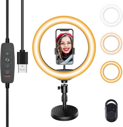 Jeemak PC50 10.2 inch selfie ring light with base and mobile phone holder, LED ring light with 3 light modes and 10 brightness