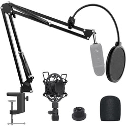 Jeemak PC12 Microphone Arm Stand Desk,Adjustable Mic Desktop Stand for Most Microphone