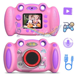 Kids Camera HD Digita 2 inch Screen with Flash, Mic, Non-Slip for Boys Girls
