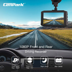 Campark DC20 Dash Cam Front and Rear Dual 1080P Car Camera with 340° Wide Angle Recording