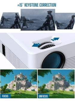Jeemak P200 Video Projector, Android WiFi Bluetooth Projector, Mini Portable Wireless Projector, 5000 Lux, LED Smart Projector for iPhone