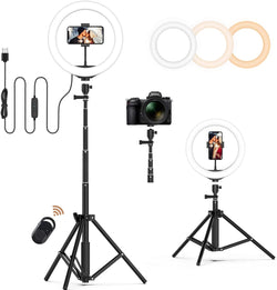 "Jeemak PC51 10"" Selfie Ring Light with Adjustable Tripod Stand and Cell Phone Holder Bluetooth Remote"
