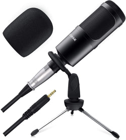 Jeemak PC22 Microphone for Computer, 3.5mm Microphone with Stand