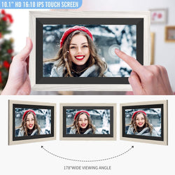 Jeemak F20A Digital Picture Frame 10.1 Inch WiFi Photo Frame with HD IPS Touch Screen Auto-Rotate Adjustable Brightness Share Photos