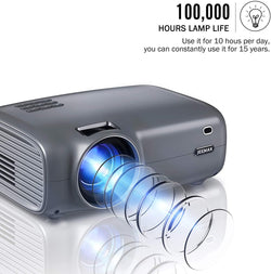 Jeemak P100 Mini Smart Video Projector, 1080P and 200 Inch Display Supported,  with 5500 Lux Porbable Projector