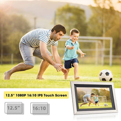 Jeemak F30 Digital Picture Frame 12.5 inch WiFi Photo Frame with 1080P IPS Touch Screen Portrait or Landscape Stand Auto-Rotate Share Photos