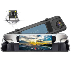Campark R5 Video Streaming Rearview Mirror Dual 1080P Touch Screen Dash Cam and Backup Camera