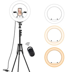 "Jeemak  PC54 14"" Selfie Ring Light with Stand Kit ,Wireless Control, 2700-6500K Dimmable LED Ring Light with auto-sleep function"
