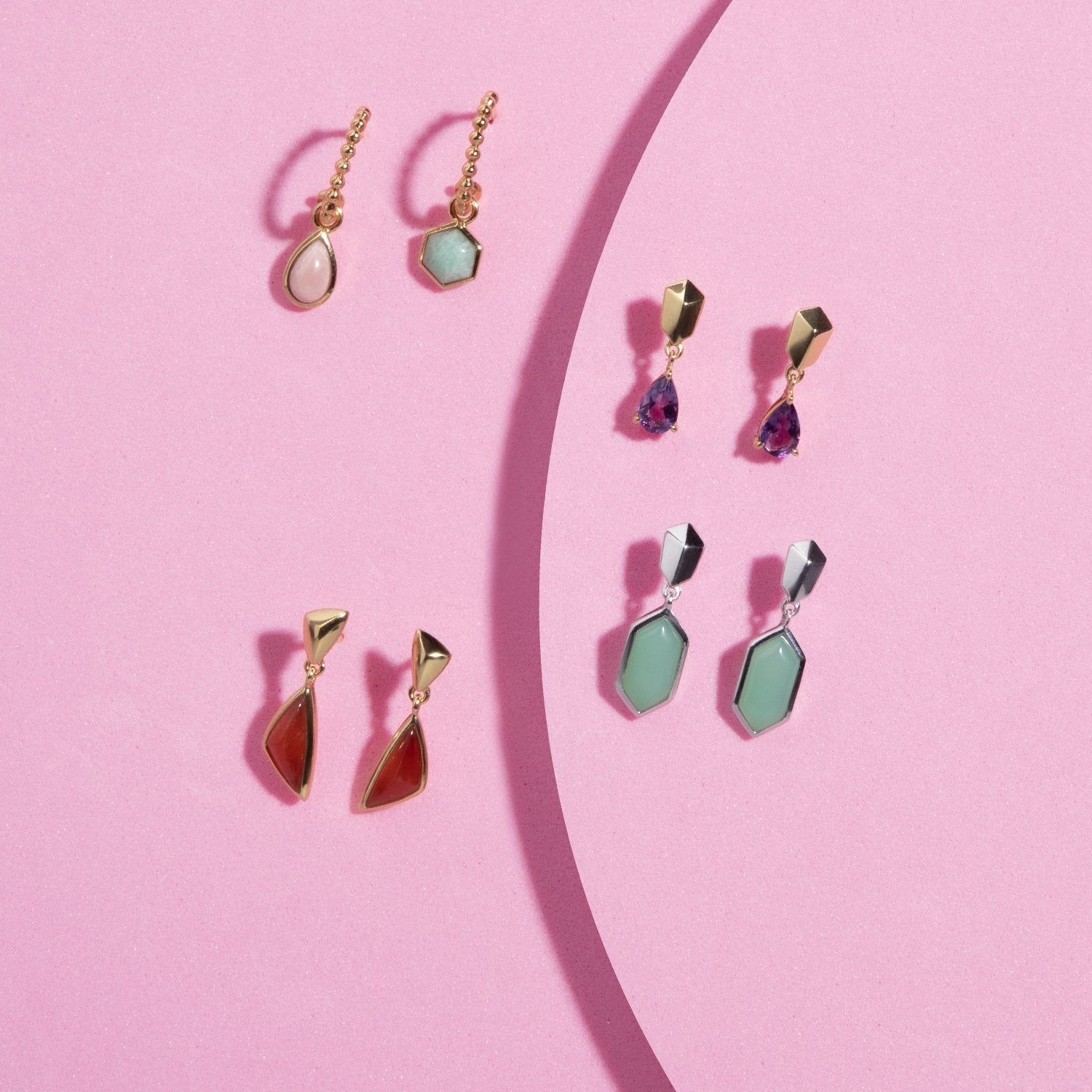 Micro Statement Jewelry | Mismatched earrings with gemstones