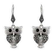 Art Deco Black Onyx & Marcasite Owl Drop Earrings Image 1