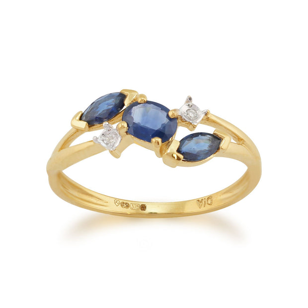 Sapphire and Diamond Three Stone Ring Image 1