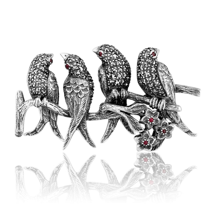 Art Nouveau Ruby & Marcasite Bird Brooch Image 1