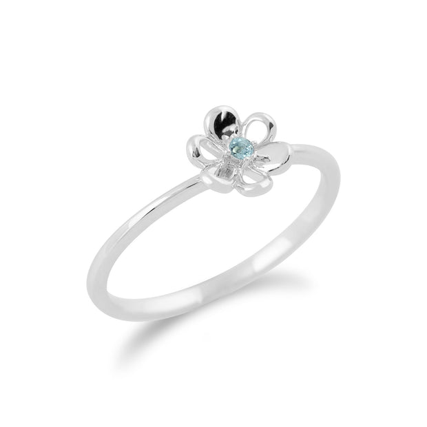 Gemondo 9ct White Gold 0.02ct Blue Topaz Stackable Floral Ring Image 2