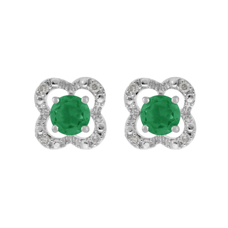 Emerald Stud Earrings & Detachable Diamond  Ear Jacket in White Gold